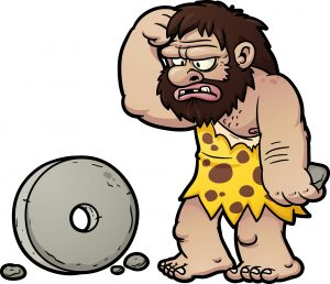Caveman with stone wheel